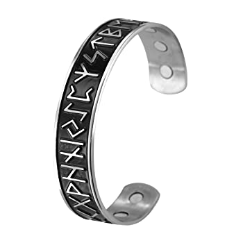 VASSAGO Vintage Norse Viking Runes Cuff Healthcare Magnetic Therapy Bracelet Gift Jewelry for Men Women (Upgraded-Stainless Stee