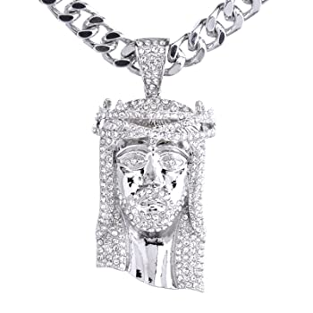 METALTREE98 NEW Men's 14K Gold & Silver Plated Iced Out Jesus Pendant 30 Heavy Cuban Chain Necklace HC 6003 (Silver)