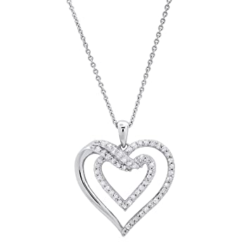 Dazzlingrock Collection 0.50 Carat (ctw) Round White Diamond Ladies Double Heart Pendant 1/2 CT, Sterling Silver